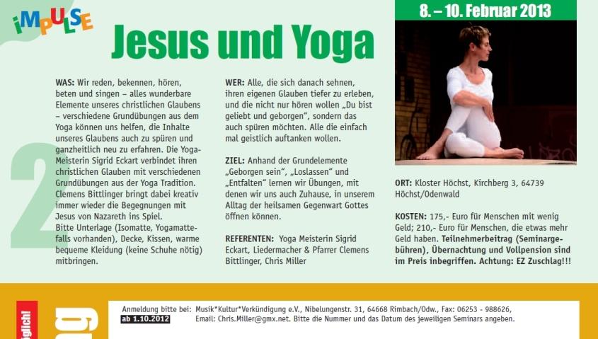 Jesus und Yoga Angebot